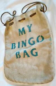 Vintage Suede Leather Bingo Bag Drawstring 8-3/4 x 11 Inch