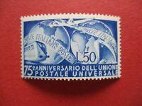 SG725 1949 Italy L50 Blue UPU 75th Anniversary Train & Aircraft Interest MNH