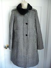 Talbots Coat 8 Black White Houndstooth Assymetrical Front Elegant FauxFur Collar