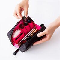 Solid Color Cosmetic Bags Waterproof Nylon Makeup Organize Case Bath Zipper Bags