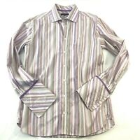 Ted Baker London Pink Stripe Floral French Cuff Mens Button Dress Shirt Size 16