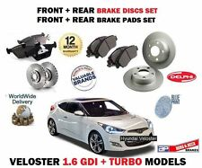 FOR HYUNDAI VELOSTER 1.6 TURBO + GDI 2011-> FRONT REAR BRAKE DISC SET + PADS KIT
