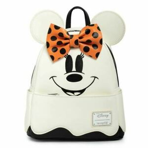 Disney Ghost Minnie Mouse Glow in the Dark Faux Leather Mini Backpack Loungefly