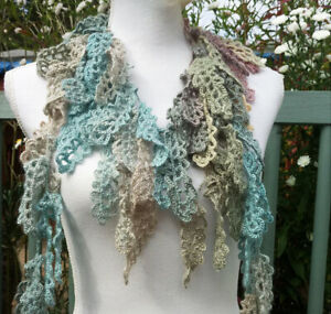 Alize pale green-blue colors leaf shawl neck wrap /frequent gorgeous necklace