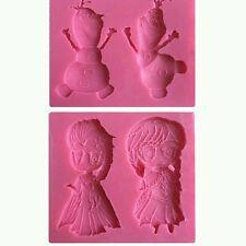 Stampo Silicone Per Pasta Di Zucchero E Fondente Sapone Fimo 2 pz.Frozen e olaf