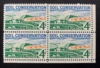US Stamps, Scott #1133 Soil Conservation 1959 4c Corner Block of 4 XF M/NH