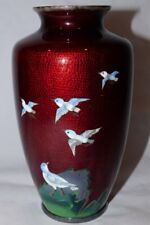 "Blood Red Japanese Wireless Cloisonne Vase with Blue Birds 7.5"" Meiji?"