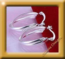Creolen Ohrstecker, 925 Sterling Silber Ohrringe -  Twist Creolen