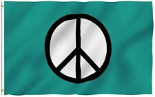 """3x5"""" Peace Symbol Flag World Peace Flags Canvas Header and Double Stitched"""