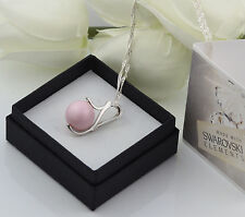 925 SILVER NECKLACE MADE WITH SWAROVSKI PEARL 12MM - PASTEL ROSE