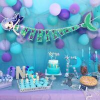 Mermaid Happy Birthday Banner Undersea Birthday Banner Kids Birthday Party Decor