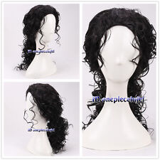 Michael Jackson men's 45cm medium long curly fulffy black cosplay wig +a wig cap