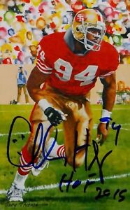 Charles Haley HOF Autographed San Francisco 49ers Goal Line Art Card- JSA W Auth