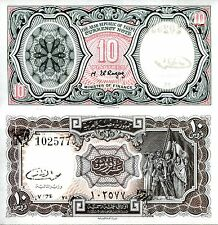 EGYPT 10 Piastres Banknote World Paper Money aUNC Currency Pick p-184b Note Bill