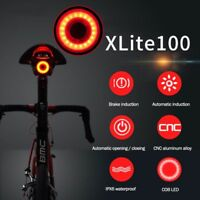 New XLite100 Bicycle Smart Brake Light Sense LED USB Tail Light RearWaterproof