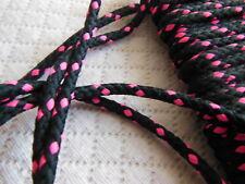 cordon année 80 noir et rose fluo rond lacet corsage 3 mètre sur 4 mm