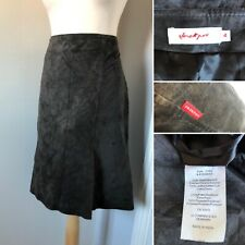 Jackpot Vintage Brown Skirt 100% Leather Suede Look A Line Size 16