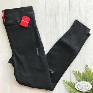 SPANX Distressed Skinny Jeans NWT Denim BLACK Pockets High Rise SMALL S 20213R