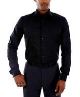 Kenneth Cole Reaction Men's Slim Fit Flex Dress Shirt, Black, Size 15 32/33