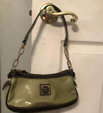 "DOONEY & BOURKE Green & Dark Brown Patent Leather Small Hobo Handbag - 9.5"" x 5"""