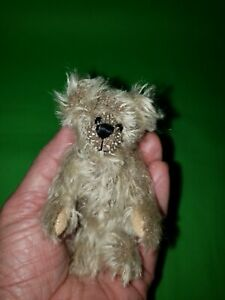 "World of Miniature Bears Mohair  4"" Tall Suede Paws Light Brown"
