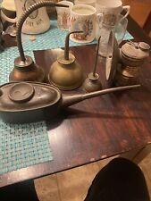Vintage UNIVERSAL LAMP CO. AUTO-LITE Brass Carbide Coal Miner's Lamp & Oil Cans