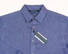Men's PERRY ELLIS Delft Blue Pure Linen Shirt 2XB 2X 2XL BIG NWT NEW