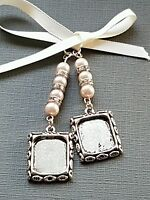 Wedding Bouquet Charm Double Photo frame locket pale pink pearls and gift Bag