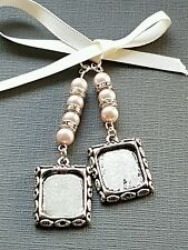 Wedding Bouquet Charm Double Photo frame locket pale pink pearls & gift Bag