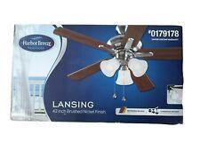 Harbor Breeze Lansing 42-in Brushed Nickel Indoor Ceiling Fan Light Kit 5-Blade