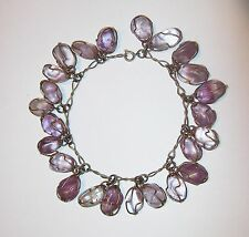 Vtg Raw Amethyst Charm Bracelet Wire Wrapped Egg Jelly Bean Bead Healing Loaded