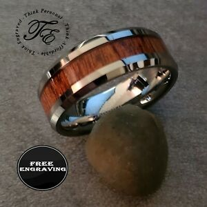 Personalized Men's Real Tungsten Wedding Band With Wood Inlay - Wedding Ring