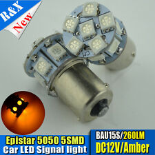 4x 13 SMD 5050 LED 260 LM 581 BAU15S 1156 PY21W Bombilla Indicador Ámbar Naranja DC12V