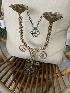 Vintage Gothic Medieval Chain Scrolling Tall Candelabra Hold 2 Candles