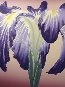 "Nancy Denison ""Spring Grand Dame"" Hand Signed Serigraph Fine Art, iris flower"