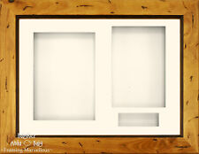 "11.5x8.5"" Rustic Pine 3D Box Display frame Kit Triple 3 Aperture mount 6x4 Photo"