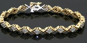 Heavy 14K yellow gold 2.16CT diamond cluster line bracelet