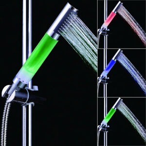 LED Shower Head Handheld w/ 7 Color Changing Light Automatic Change Showerhead