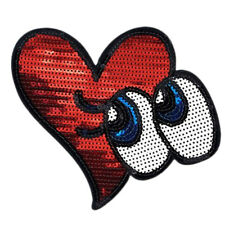 Sparkle Glitter Heart Eyes Iron on Patches Embroidered Badge Applique patch TO