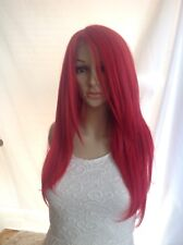 Red human hair blend lace front wig.