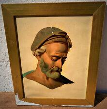 ancien tableau portrait homme turban neoclassique d'epoque 19 eme