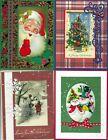 Handmade VINTAGE CHRISTMAS CARDS #CV1-Lot of 4