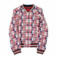 Tommy Hilfiger Women's Plaid Bomber Jacket, Large, Red/White/Blue