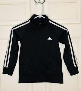 Adidas Boys Black & White Track Athletic Jacket Size 6