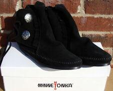 Minnetonka Women's Two Button Boot - Hardsole Black Suede - 9