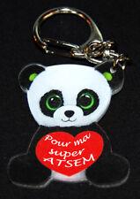 """Porte-clés panda style peluche """"Pour ma super ATSEM"""" cadeau ATSEM"""