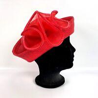 True Vtg Designer Sylvia Fashion Red Hat Woven New York Hollywood Derby Church
