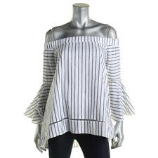 Designer 0721 Womens White Off-The-Shoulder Hi-Lo Bell Sleeve Blouse S BHFO
