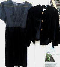 Vintage Women'S 40'S 2Pc Black Velvet Jacket And Dress Size Medium Jack Size Md