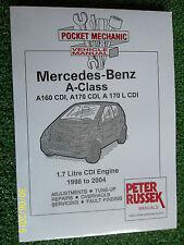 MERCEDES BENZ A-CLASS CDi DIESEL A160 A170 A170L VANEO WORKSHOP MANUAL 1998-2004